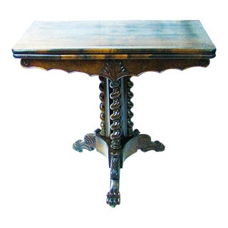 19c British Fold Over Card Table With Tripod Barley Twist Columns For Sale