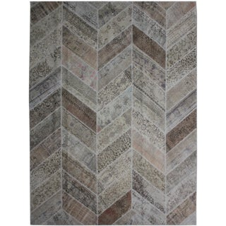 "Aara Rugs Inc. Hand Knotted Patchwork Rug - 10'1"" X 8'1"" For Sale"