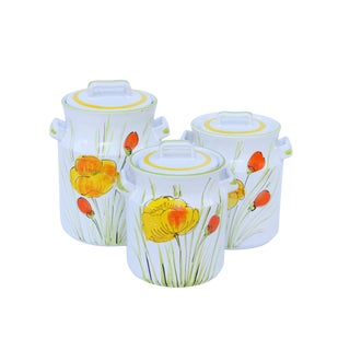 Floral Ceramic Kitchen Jars - Set of 3 For Sale