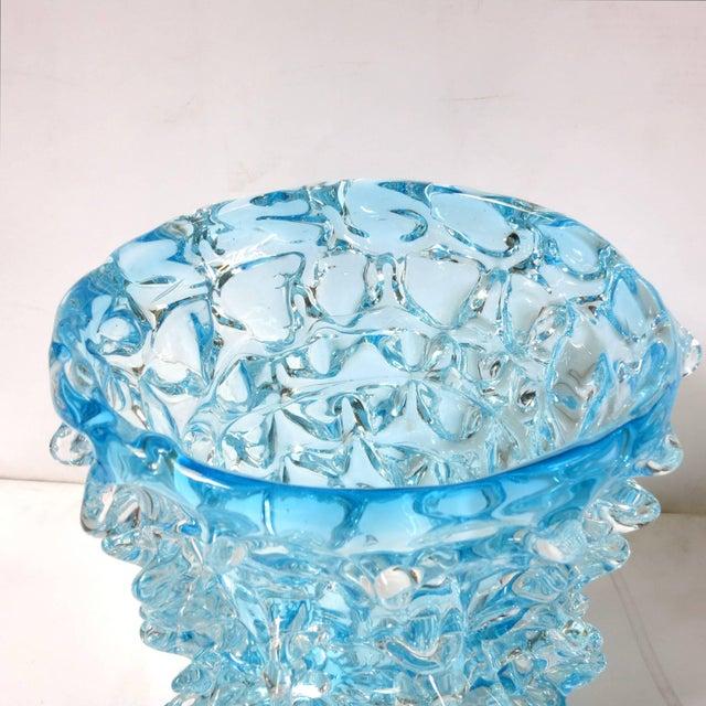 Italian Italian Murano Aquamarine Rostrato Glass Vase by Maestro Camozzo For Sale - Image 3 of 7