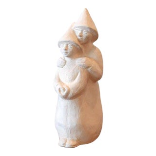 Vintage Handmade Plaster Figurine Sculpture For Sale