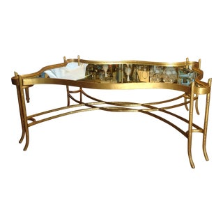Faux Bois Mirrored Cocktail Table For Sale