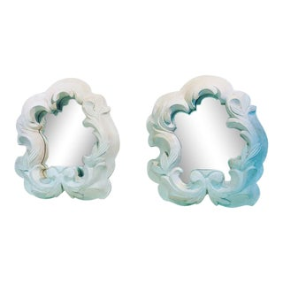 Fabulous Pair of Plaster Mirrors in the Manner of Serge Roche For Sale