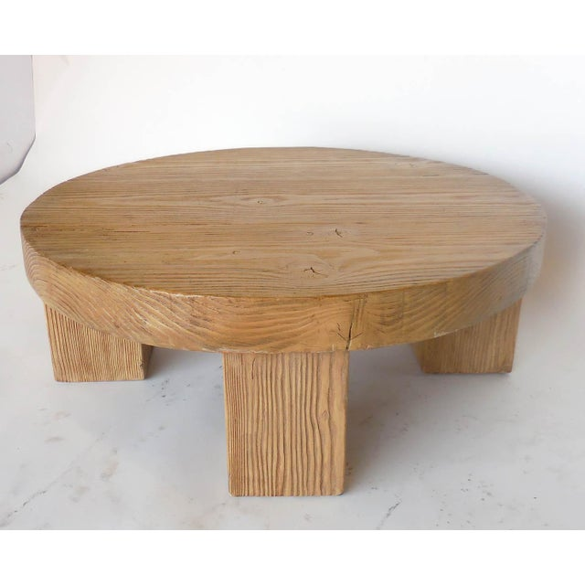 Reclaimed Wood Low Round Coffee Table by Dos Gallos Studio For Sale - Image 4 of 10