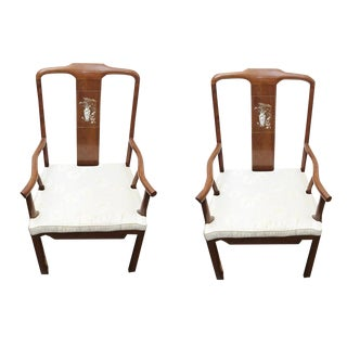 Custom Made Rosewood Mother of Pearl Inlay Dining Chairs - a Pair