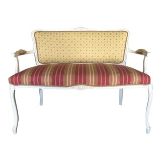 Contemporary French Pink & Yellow Louis Style Settee For Sale