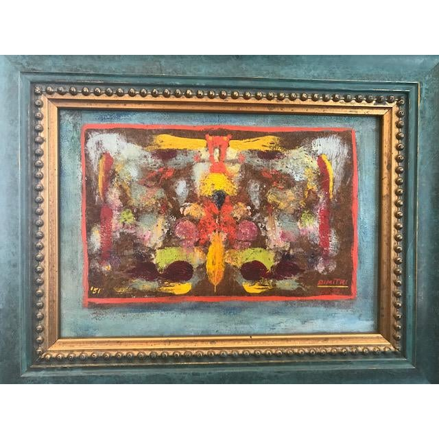 Brightly colored Mid Centruy Abstract painting, signed and painted by Dimitri in 1951. The frame is newer and a beautiful...
