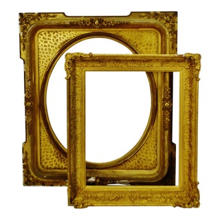 Antique Large Gold Gilt Wood Frames - Group of 2 For Sale