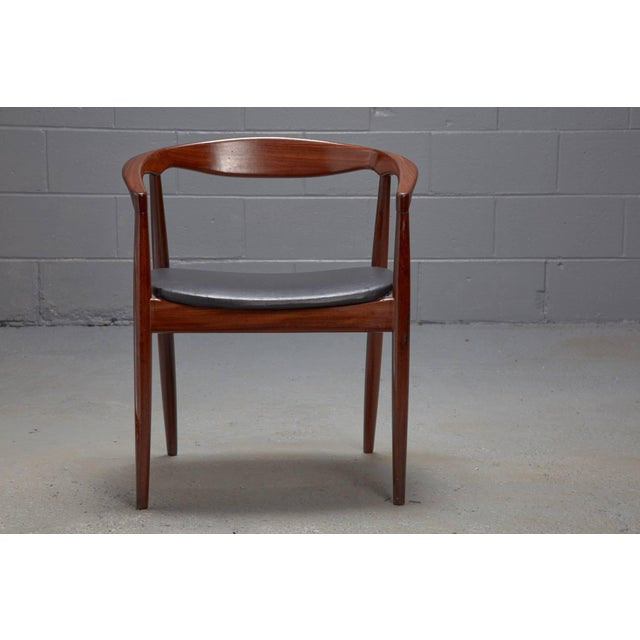 Mid-Century Modern Teak and Black Leather Model Troja Armchair by Kai Kristiansen For Sale - Image 3 of 3