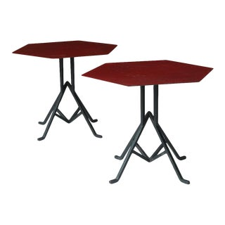 Pair of Warren McArthur and Frank Lloyd Wright Iron Side Tables For Sale