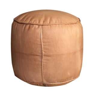 Modern Moroccan Tabouret Sand Color Pouf Ottoman For Sale