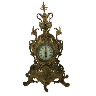 Later 19th Century Antique Louis XV Style Gilt Bronze Mantle Clock For Sale