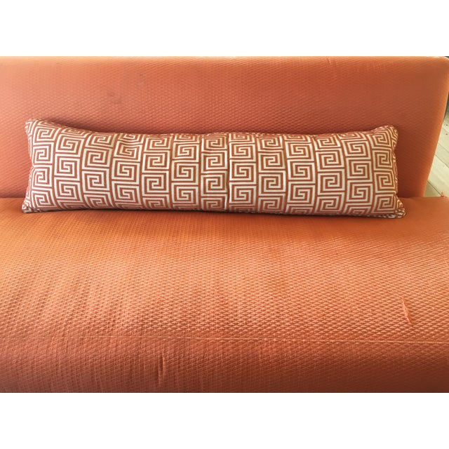 Custom Orange/Natural Fabric Extra Large Kidney Pillow - Image 6 of 8