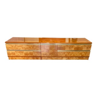 Vintage Italian Two Piece Burl & Brass Credenza For Sale
