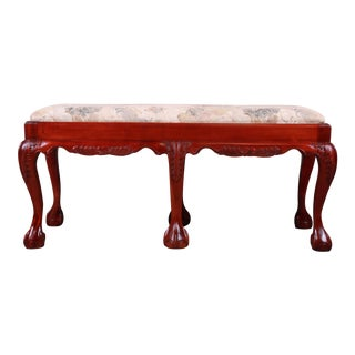 Chippendale Carved Mahogany Upholstered Window Bench For Sale