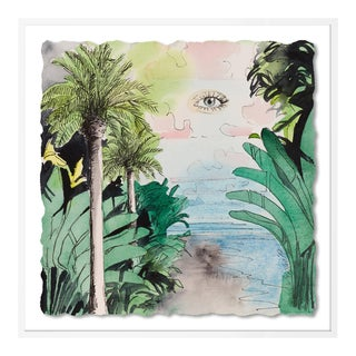 Jungle with Eye by Lia Burke Libaire in White Frame, Small Art Print For Sale