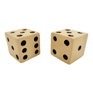 Small Vintage Dice Bookends ~ a Pair For Sale