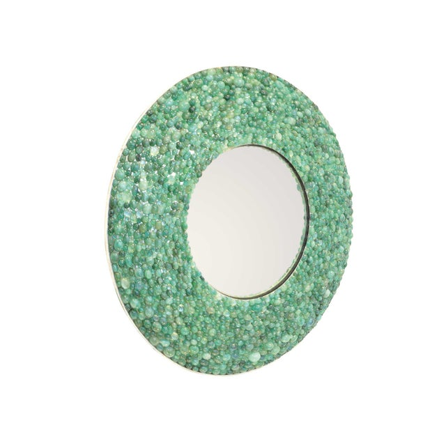 KAM TIN Emerald mirror Real natural emerald cabochons, silver, mirror glass France, 2017 Unique piece