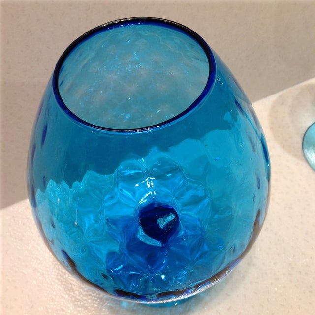 Blue Optic Glass Murano Vases - A Pair - Image 10 of 11