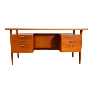 Kai Kristiansen Floating Teak Desk With Built in Bookcase For Sale