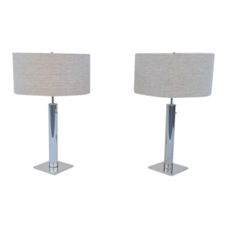 Polished Chrome Table Lamps by Nessen - A Pair For Sale