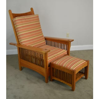 Mission Style Studio Hand Crafted Cherry & Walnut Spindled Morris Chair W/ Foot Stool Preview