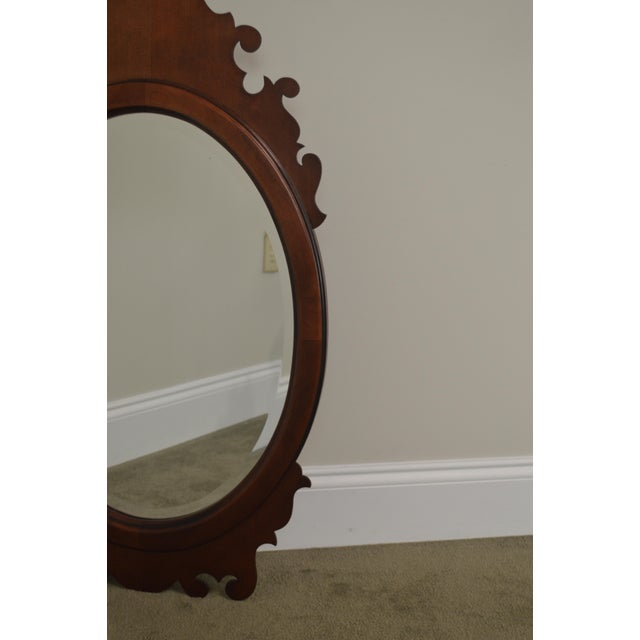 Victorian Style Cherry Oval Beveled Wall Mirror For Sale - Image 4 of 12