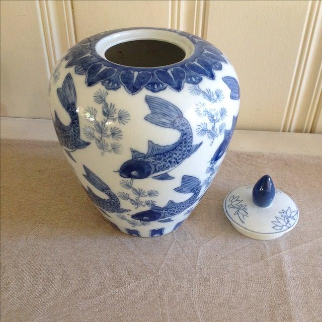 Asian Koi Fish Ginger Jar For Sale - Image 5 of 9