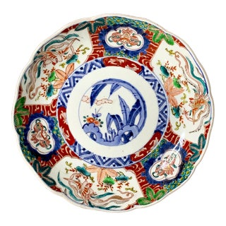 Antique Hand Painted Imari Plate Charger For Sale