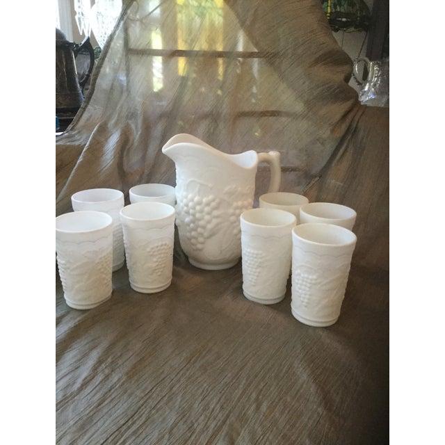 Mid-Century Modern Grapevine Milk Glass Beverage Set For Sale - Image 3 of 8