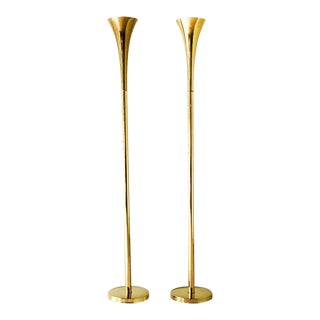 Pair of Brass Trumpet Uplighter Floor Lamps by Laurel 1960s For Sale