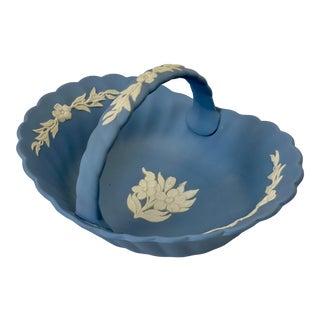 Vintage Signed Wedgwood Blue Jasperware Trinket Basket For Sale