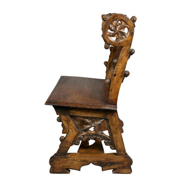 Brown Gothic Fruitwood Bench For Sale - Image 8 of 10