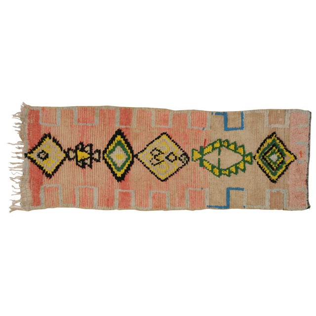 Textile Vintage Moroccan Berber Tribal Design Runner - 3'8 x 8' For Sale - Image 7 of 7
