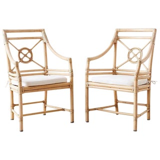 Pair of McGuire Rattan Target Design Lounge Chairs For Sale