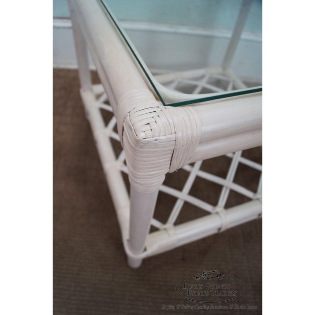 Ficks Reed Painted Rattan Glass Top End Table - Image 5 of 11