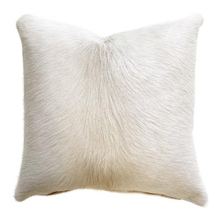 "Forsyth 18"" Ivory Brazilian Cowhide Pillow For Sale"