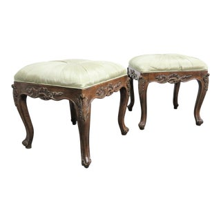 Louis XV Style Faux Painted Carved Stool- a Pair For Sale