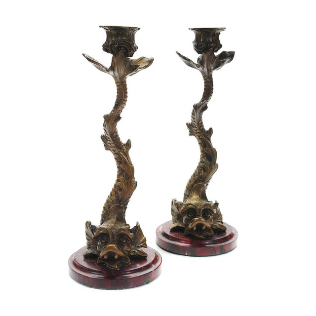 "Image of Antique Bronze Dolphin 10"" Candle Sticks - 2"