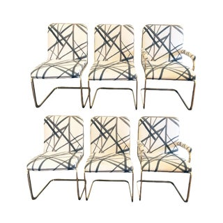 Cantilever Dining Chairs - Set of 6 For Sale