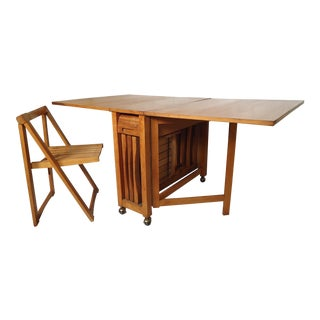 Mid-Century Modern Drop Leaf Table and Chairs For Sale