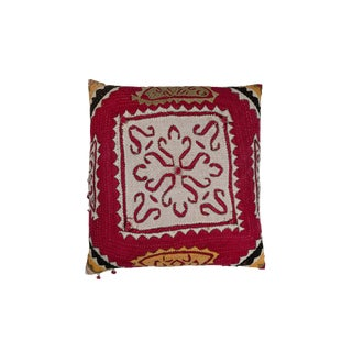 Indian Banjara Applique Pillow For Sale