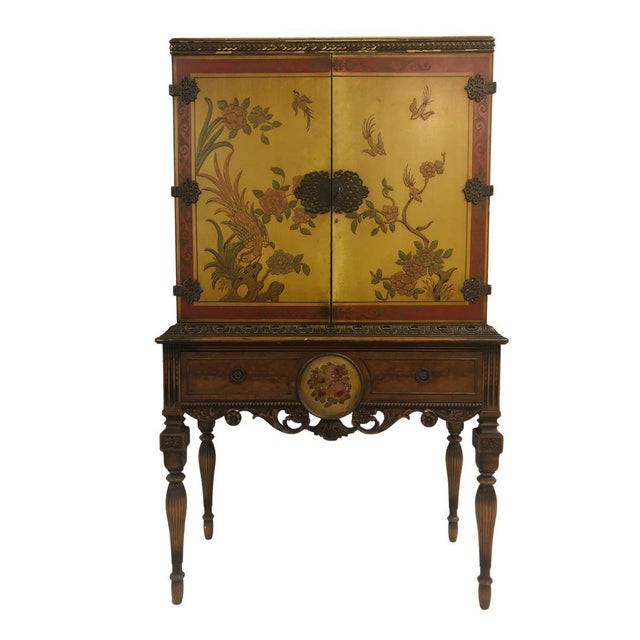 Wood 1920's Chinoiserie Yellow Cabinet Armoire Bar Cabinet For Sale - Image 7 of 7