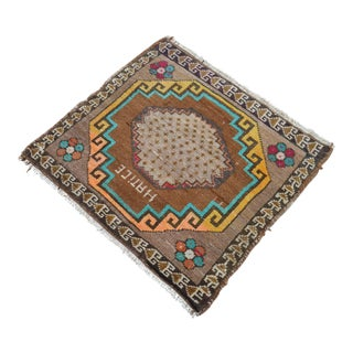 Distressed Low Pile Turkish Yastik Petite Rug Hand Knotted Faded Mat - 2'1'' X 2'4'' For Sale