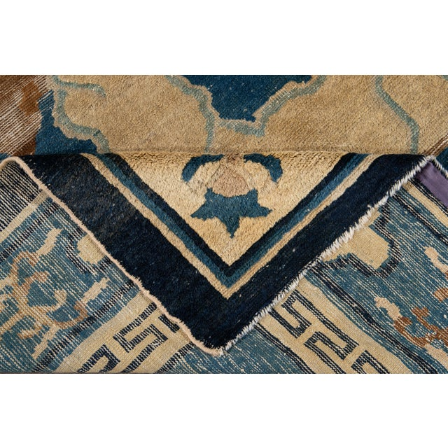 Art Deco Early 20th Century Antique Art Deco Chinese Peking Wool Rug For Sale - Image 3 of 13