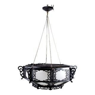 1970s Chinoiserie Plexiglass and Black Block Wood Chandelier For Sale