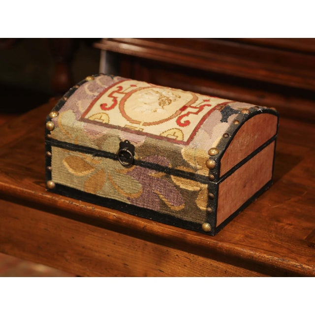 Early 21st Century Decorative Bombe Box With 18th Century Needlepoint Tapestry by J. Lamy For Sale - Image 5 of 11