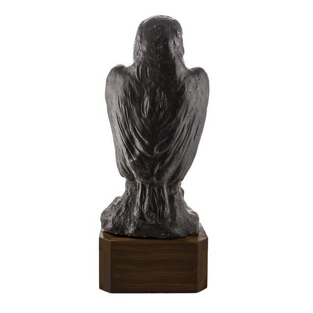 One of a kind solid lead or iron falcon statuette with a custom black walnut base. Reminiscent of the Maltese falcon but a...