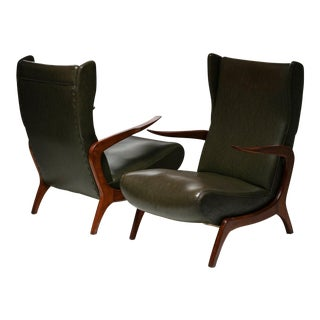 Set of Two Bergères With Footrest For Sale