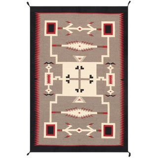 Navajo Style Wool Area Rug - 5′11″ × 8′11″ For Sale